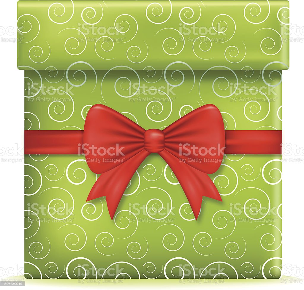 Green Christmas Gift With Red Bow royalty-free stock vector art