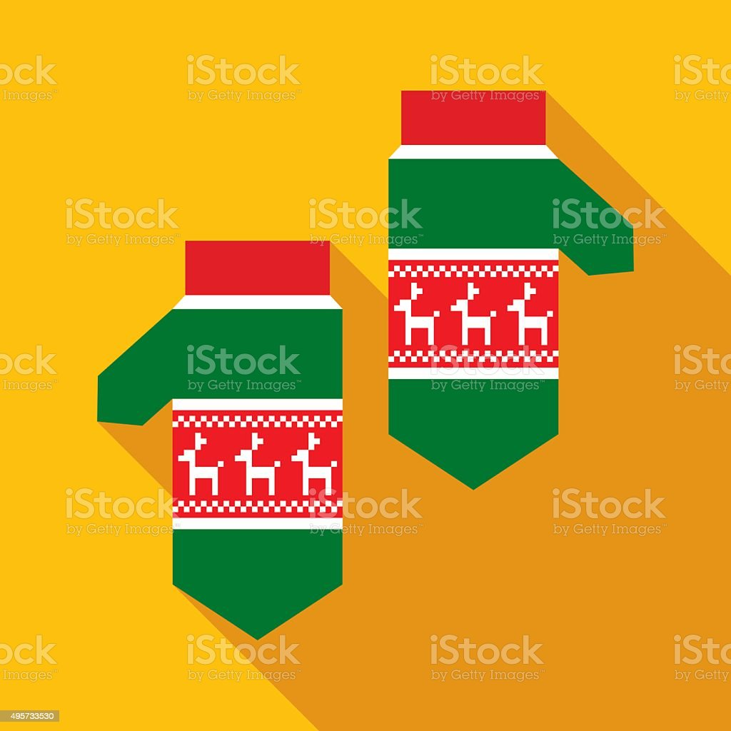 Green Christmas Mittens in Flat Style with Long Shadows vector art illustration