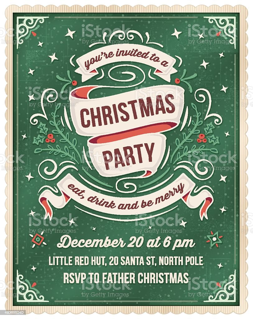Green Christmas Party Invitation Template vector art illustration