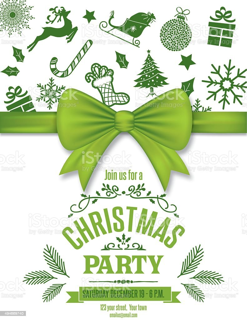 Green Christmas Party Invitation Template With Bow And Iocns vector art illustration