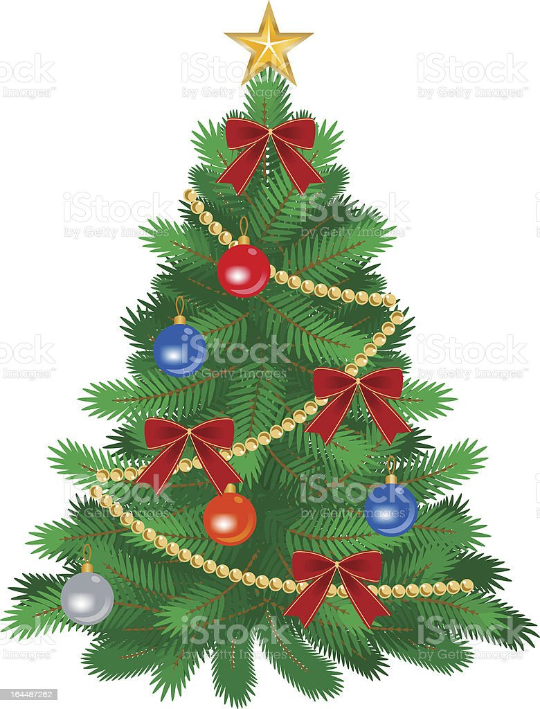 Green Christmas tree drawing with red bows and colorful bell royalty-free stock vector art