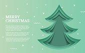 Green Christmas tree made of paper original.