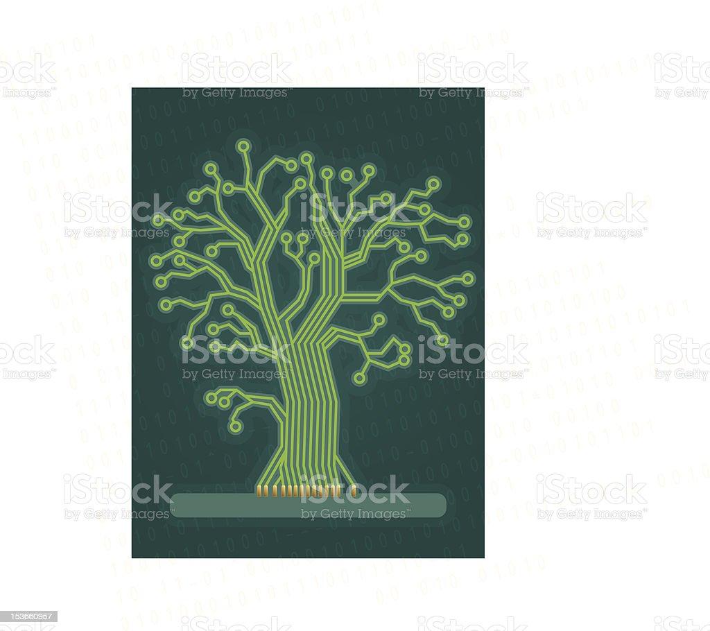 Green Circuit Board Tree royalty-free stock vector art