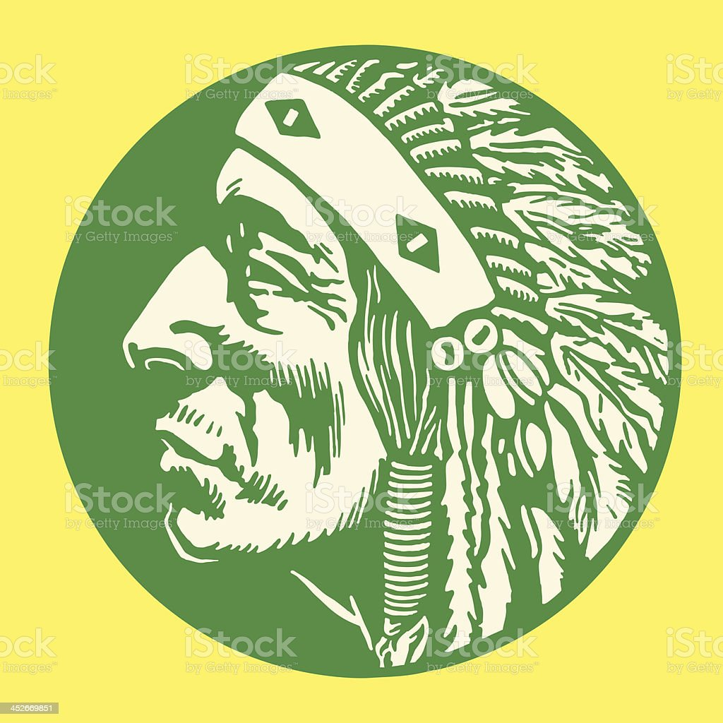 Green, circular image with green Native American man profile vector art illustration