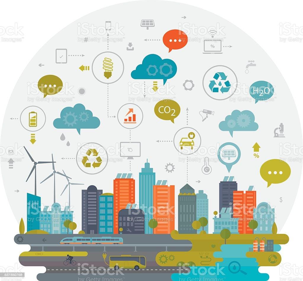 Green City And Smart Technology vector art illustration