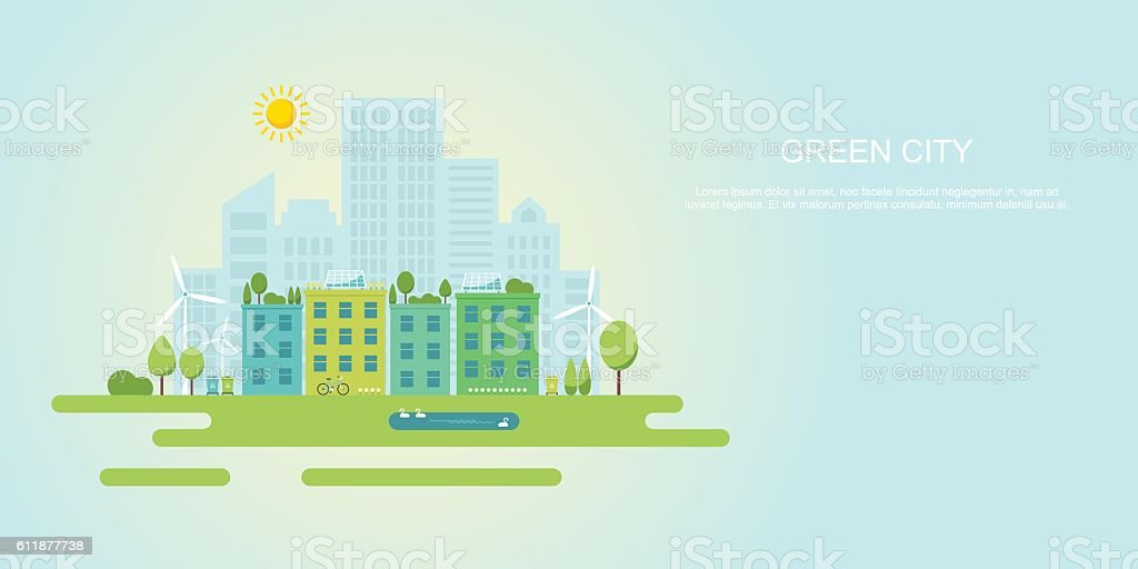 Green city and sustainable community flat vector banner vector art illustration