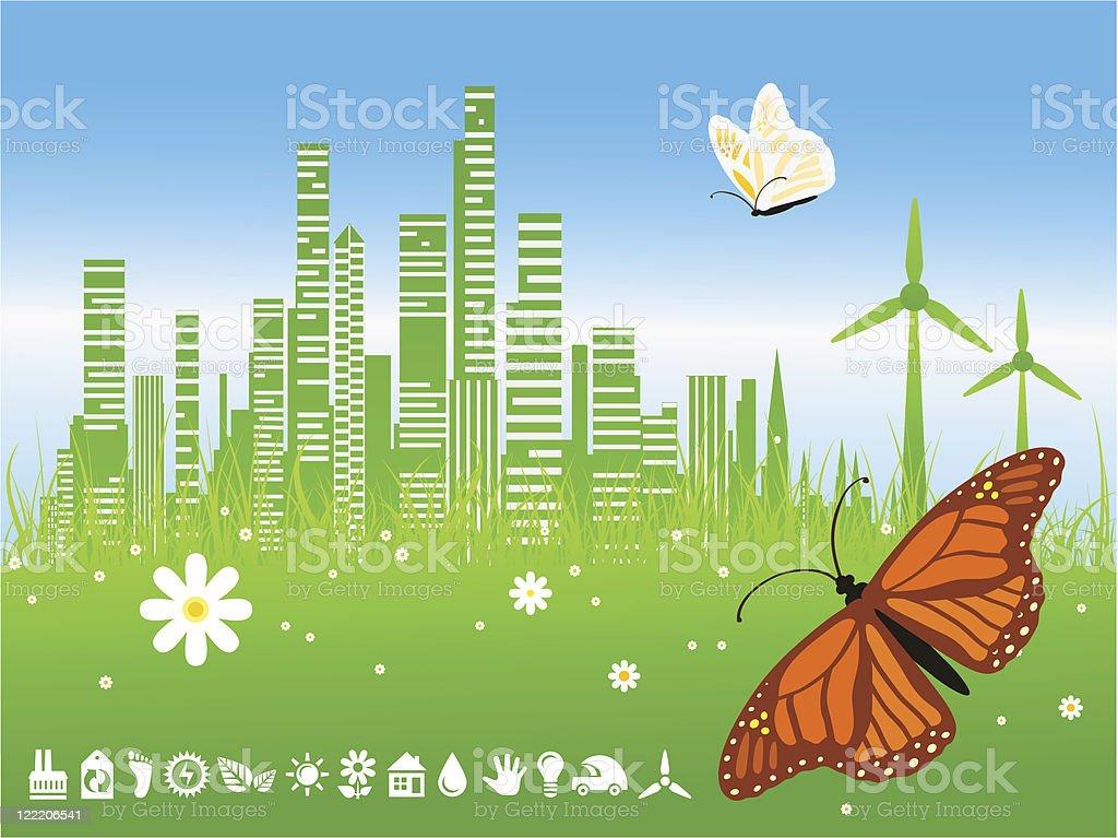 Green city background vector art illustration