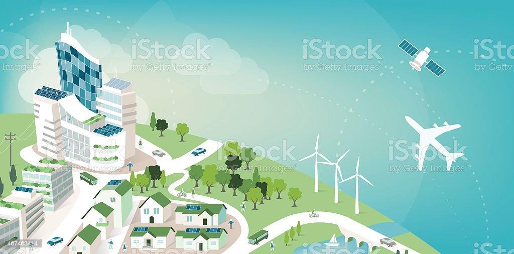 Green city banner vector art illustration
