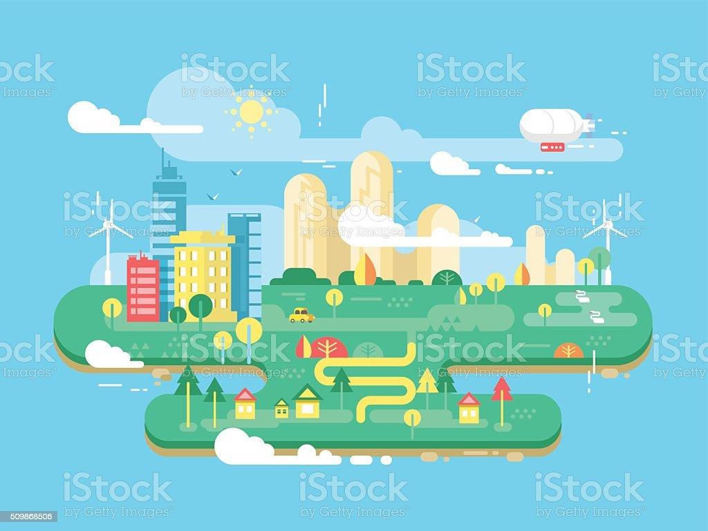 Green city flat vector art illustration
