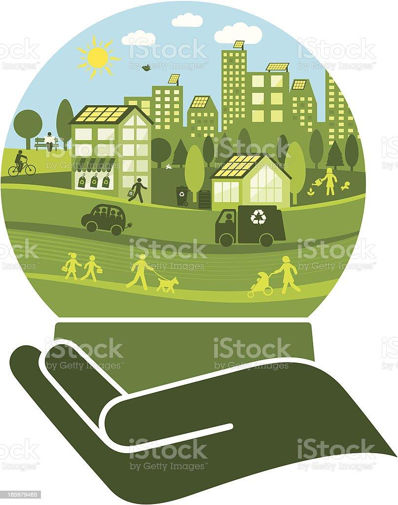 Green City in a Crystal Ball vector art illustration