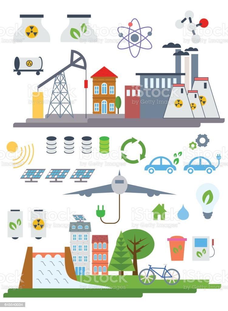 Green City Infographic set elements. Vector illustration with eco Icons. Environment, Ecology Infographic elements. Ecosystem background, banner, diagram, web design, brochure template elements vector art illustration