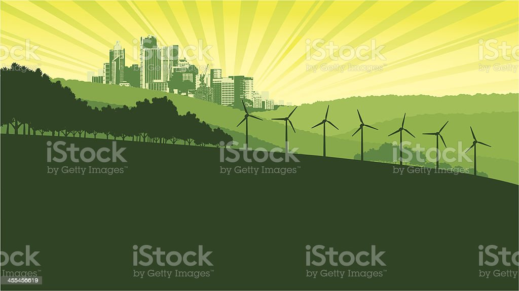 Green City Landscape vector art illustration