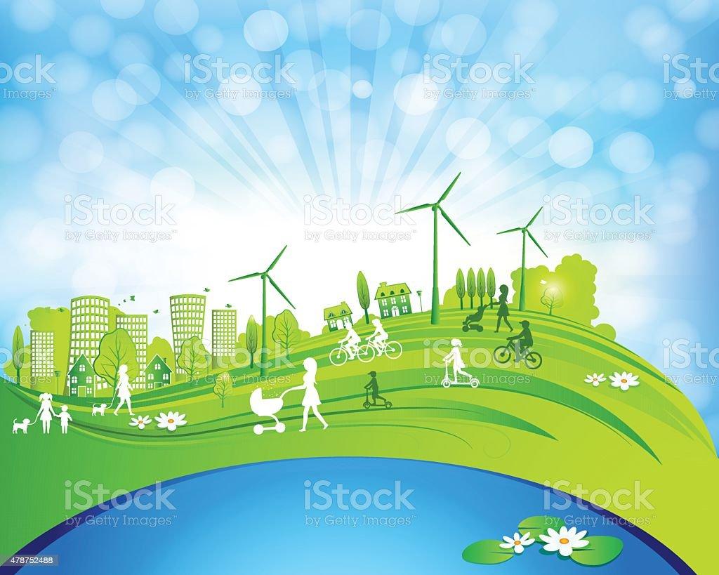 Green City Life vector art illustration