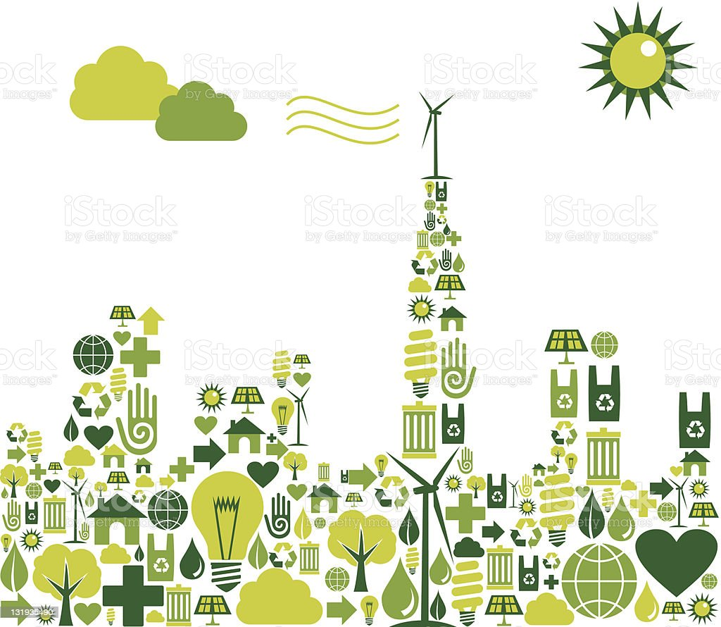 Green City silhouette with environmental icons vector art illustration