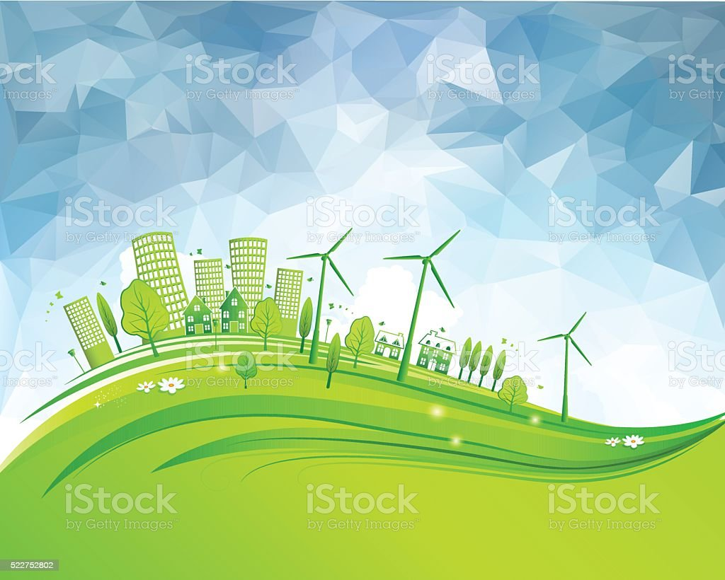 Green City vector art illustration