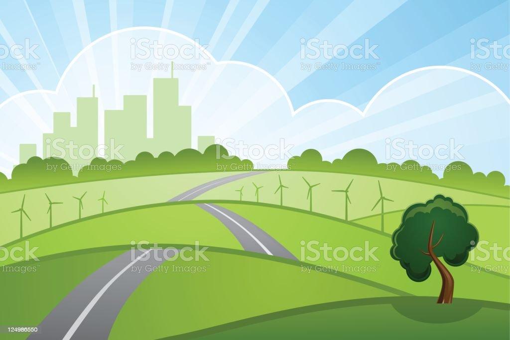 green cityscape vector art illustration