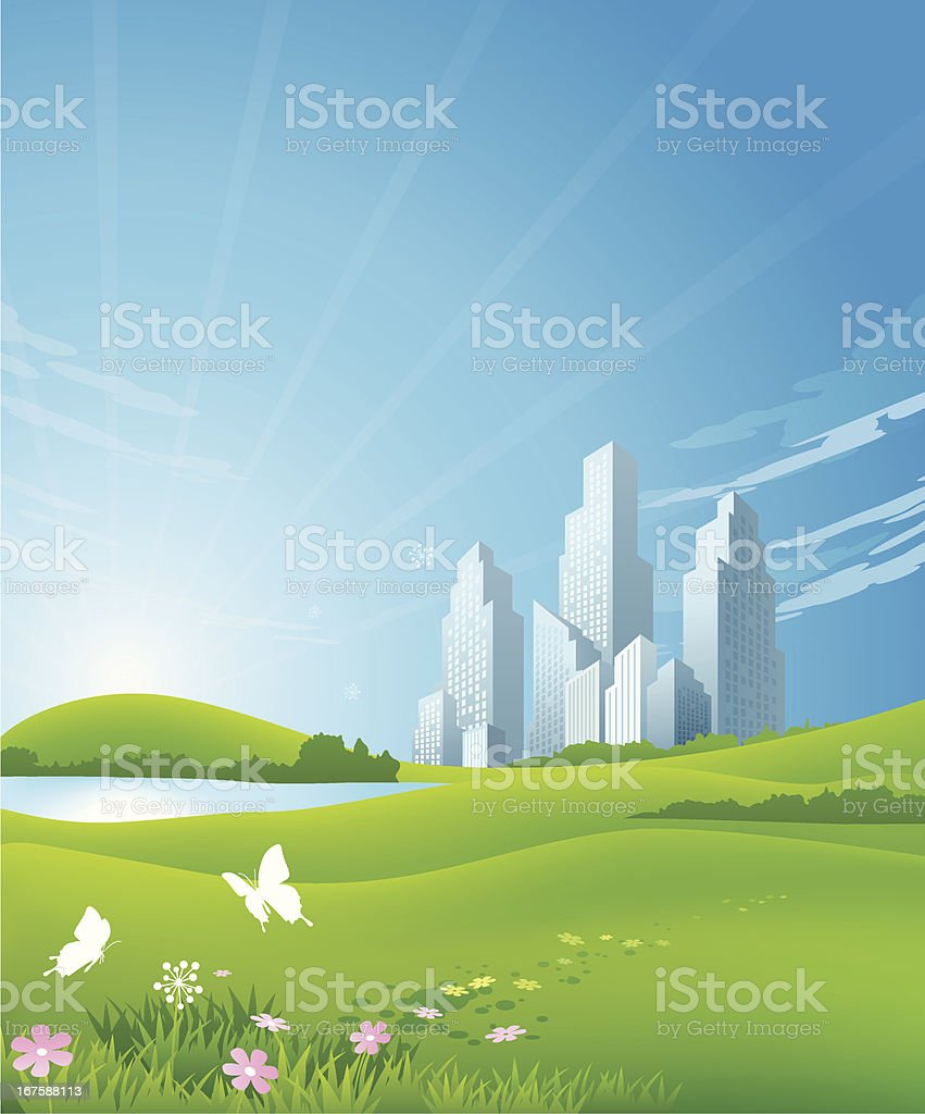 Green Cityscape vector art illustration