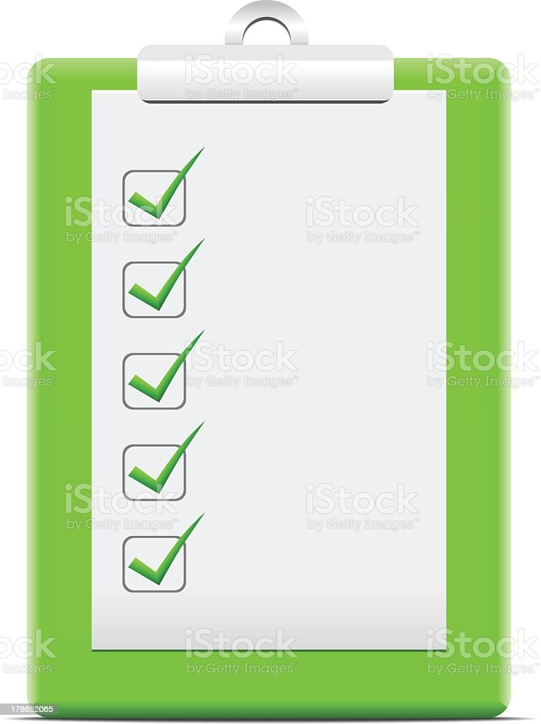 Green clipboard with a sheet of checkboxes vector art illustration