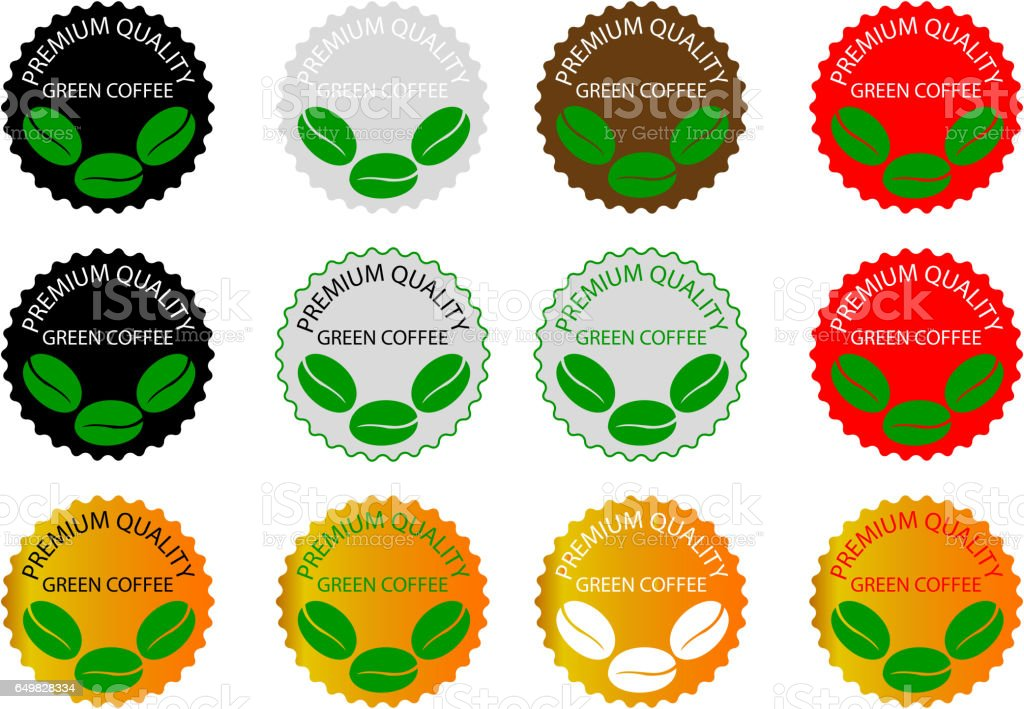 green coffee - sticker or label vector art illustration