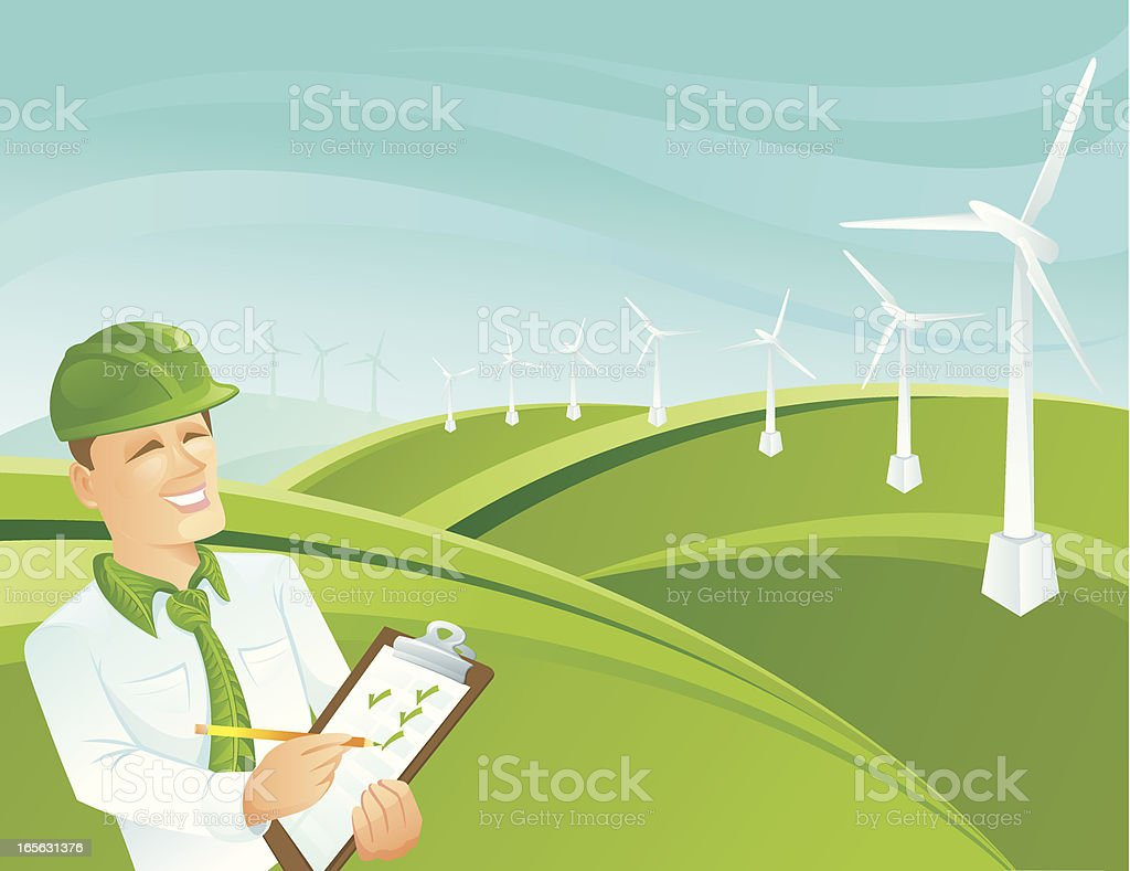 green collar worker landscape stock vector art istock green collar worker landscape royalty stock vector art
