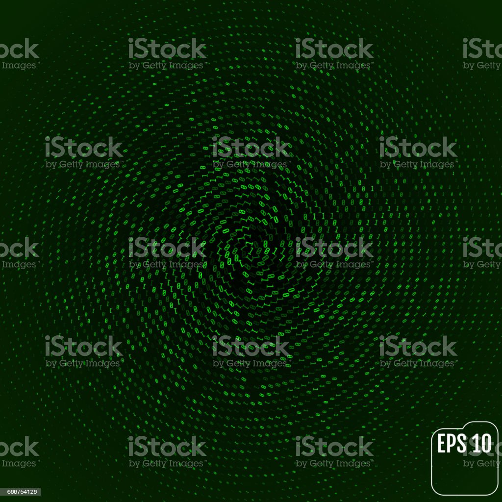 Green color code streams glowing on screen. Vector background vector art illustration