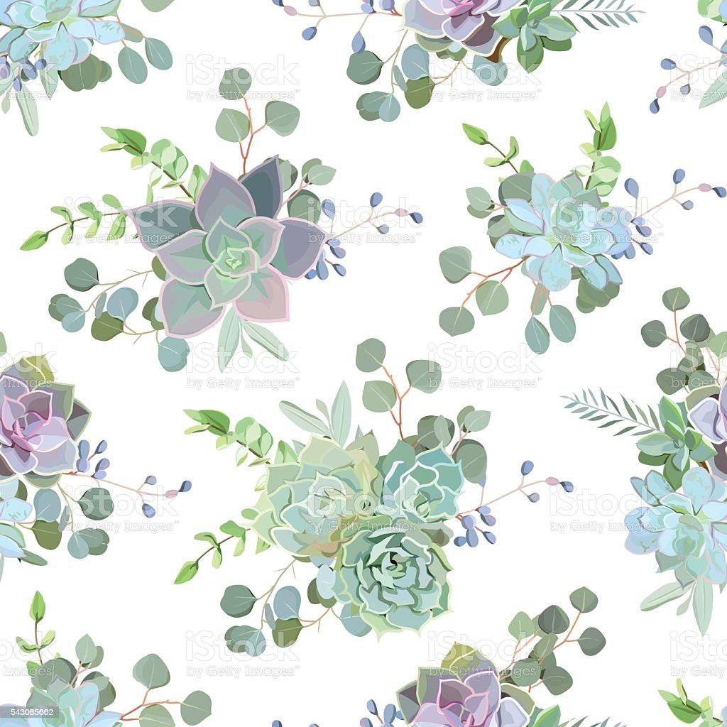Green colorful succulent Echeveria seamless vector design print vector art illustration