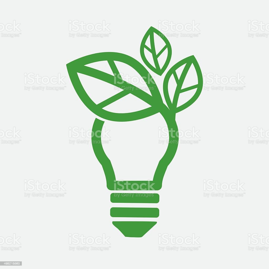 Green Concept Light Bulb. vector art illustration