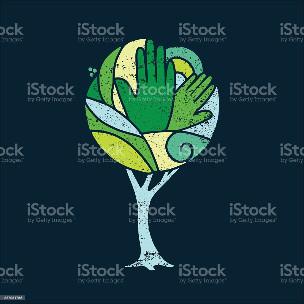 Green concept tree of people hands for nature help vector art illustration