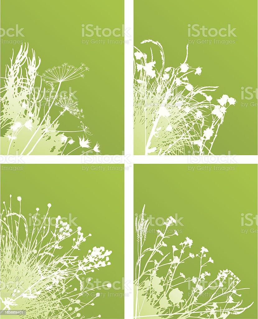 Green corner plants royalty-free stock vector art
