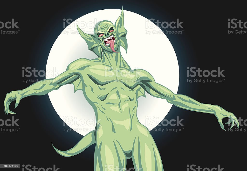 Green Creature vector art illustration