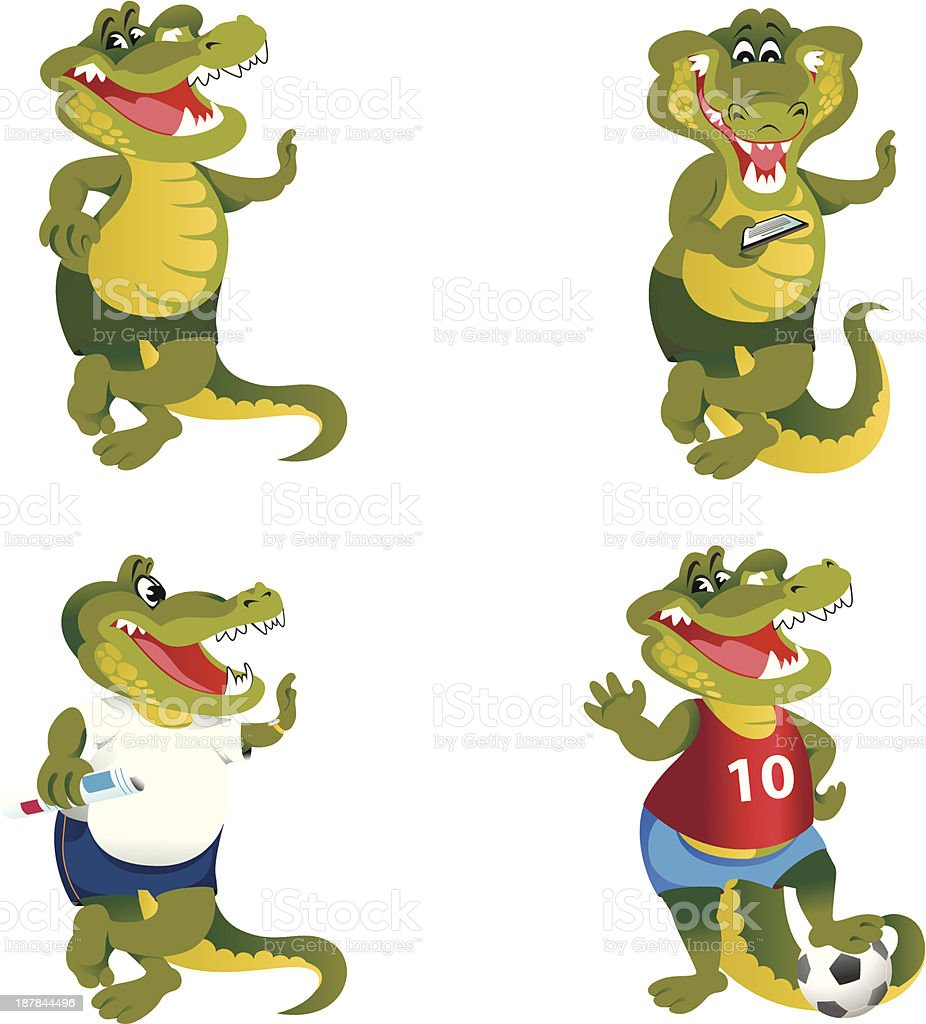 Green crocodile set royalty-free stock vector art