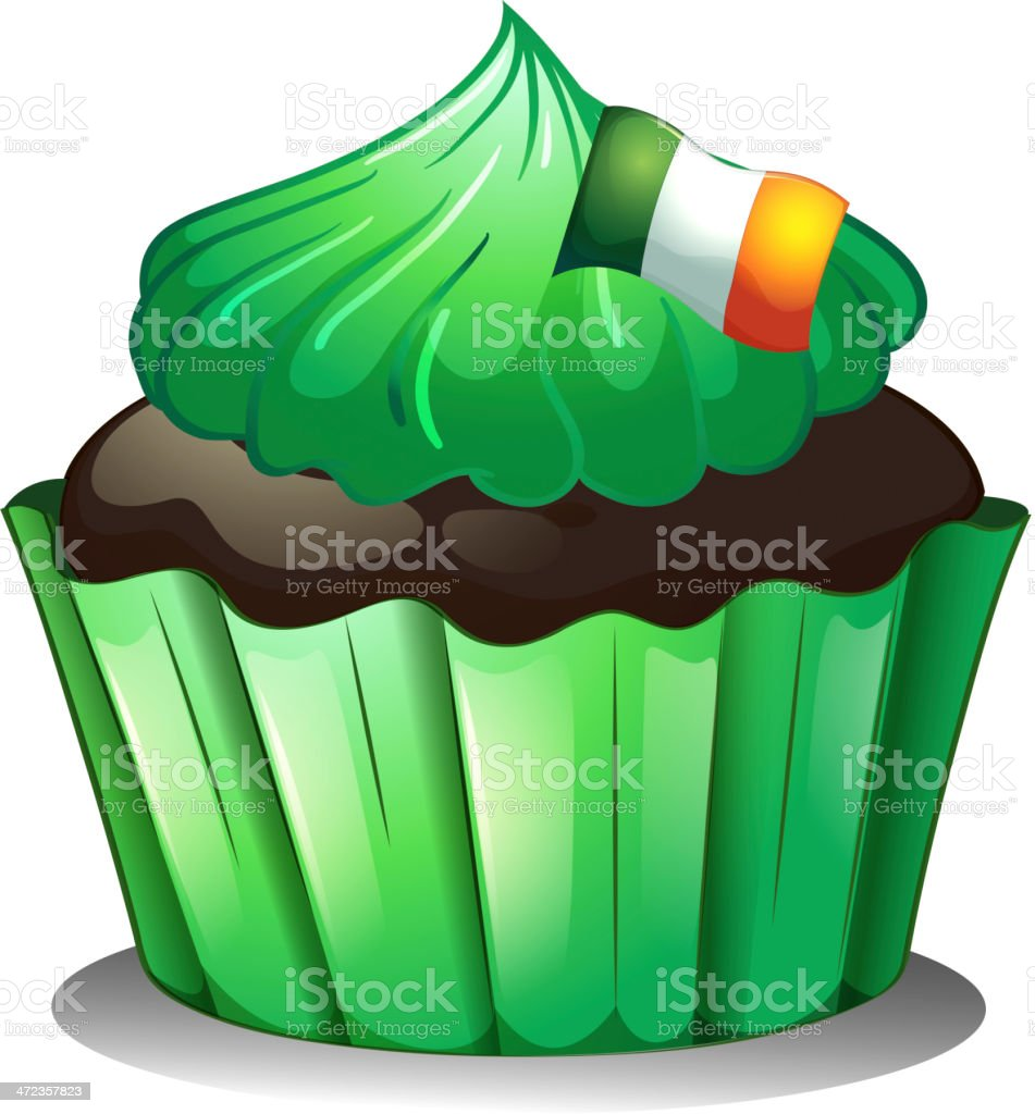 Green cupcake with the flag of Ireland royalty-free stock vector art