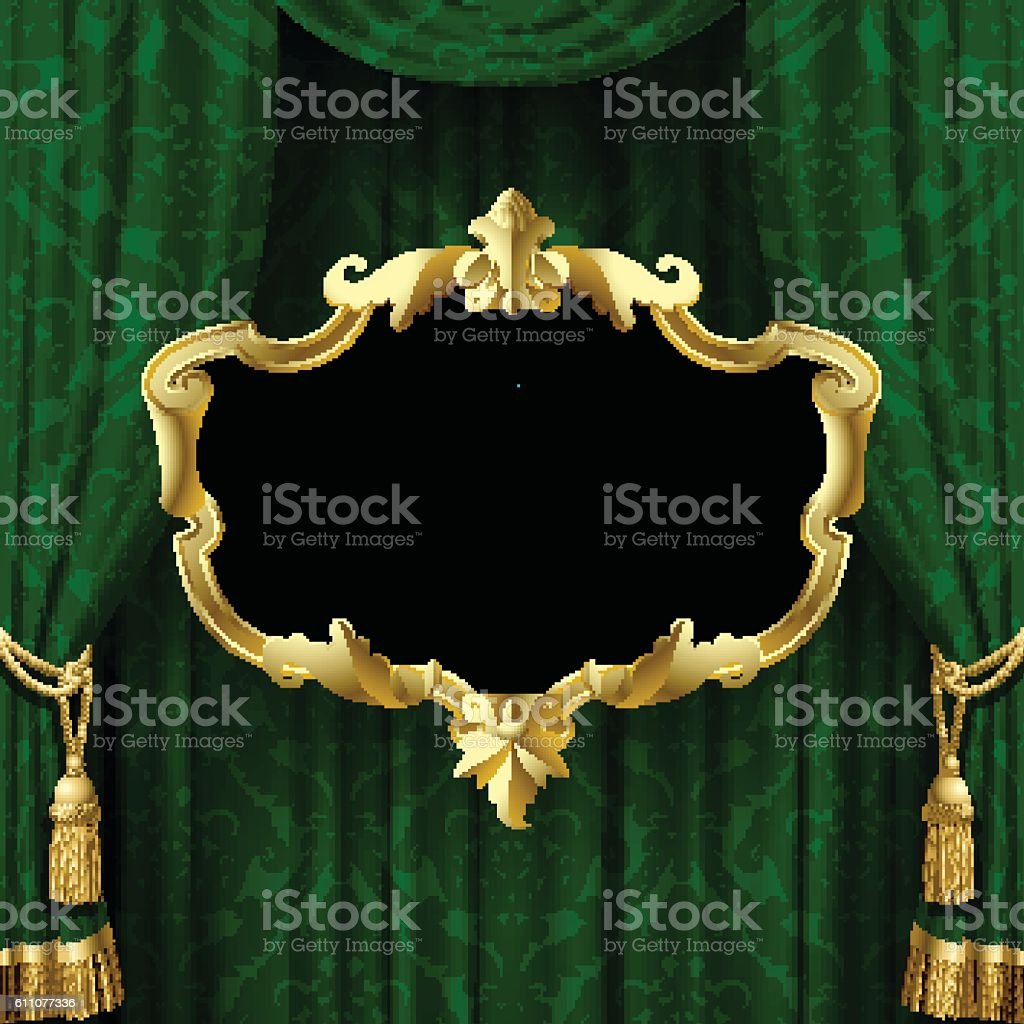 Green curtain with a gold decorative baroque frame vector art illustration