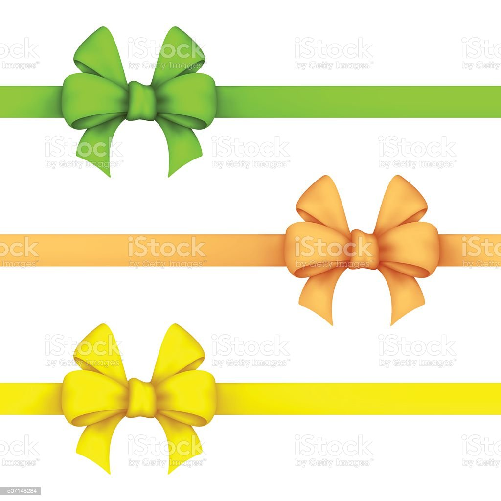 Green, daffodil and yellow gift bows vector art illustration
