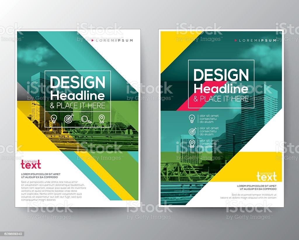 Poster design vector graphics - Green Diagonal Line Brochure Annual Report Cover Flyer Poster Design Royalty Free Stock Vector Art