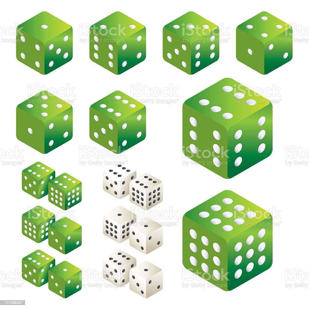 Green Dice vector art illustration