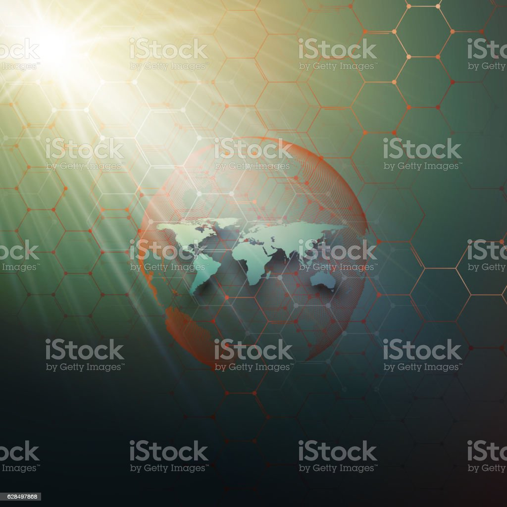 Green dotted world globe, connecting lines and dots on dark vector art illustration