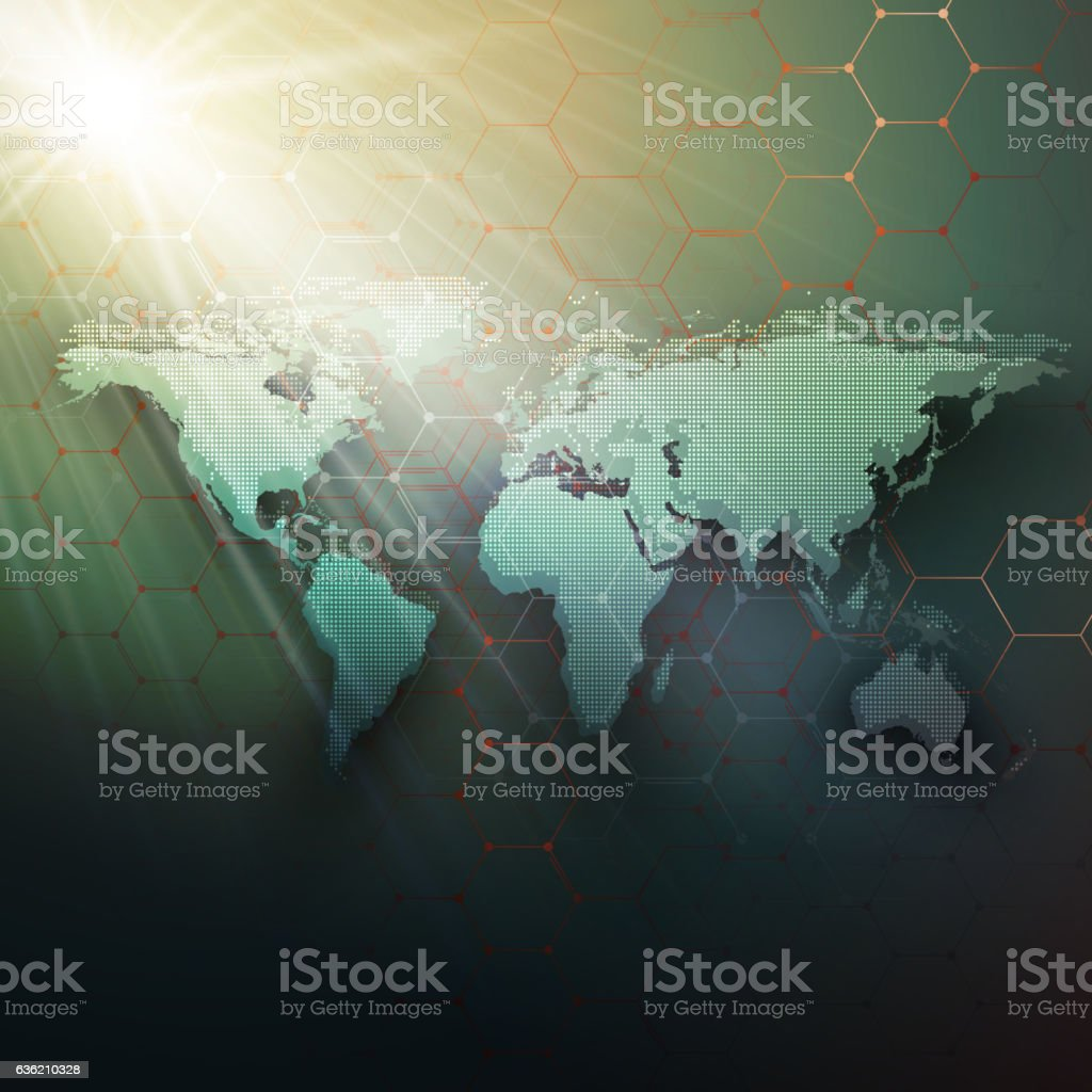 Green dotted world map, connecting lines and dots on dark vector art illustration