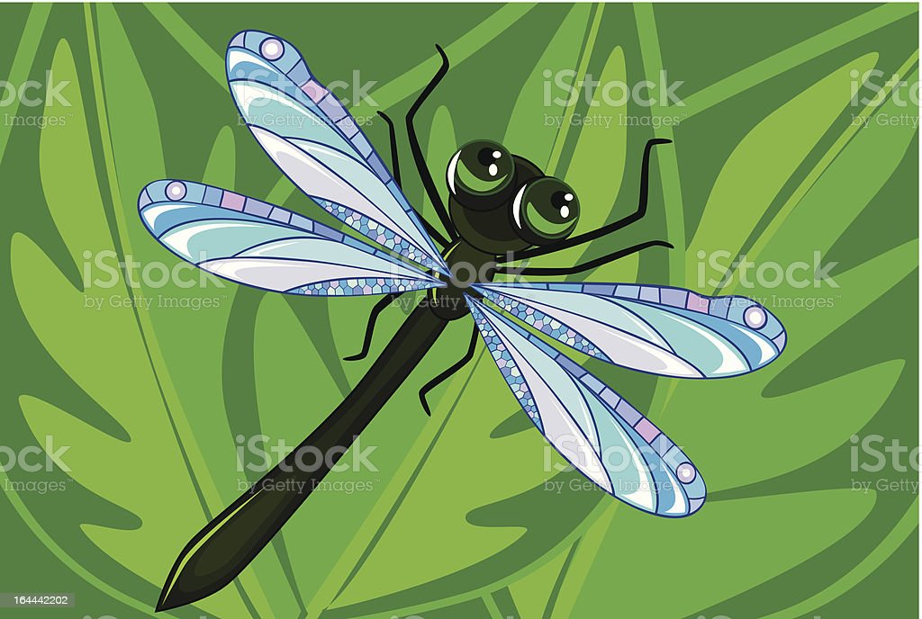 green dragonfly royalty-free stock vector art