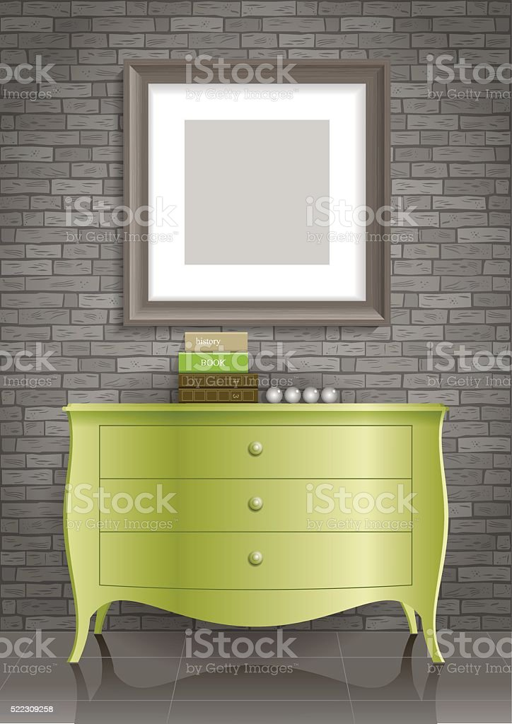 Green dresser and the picture vector art illustration
