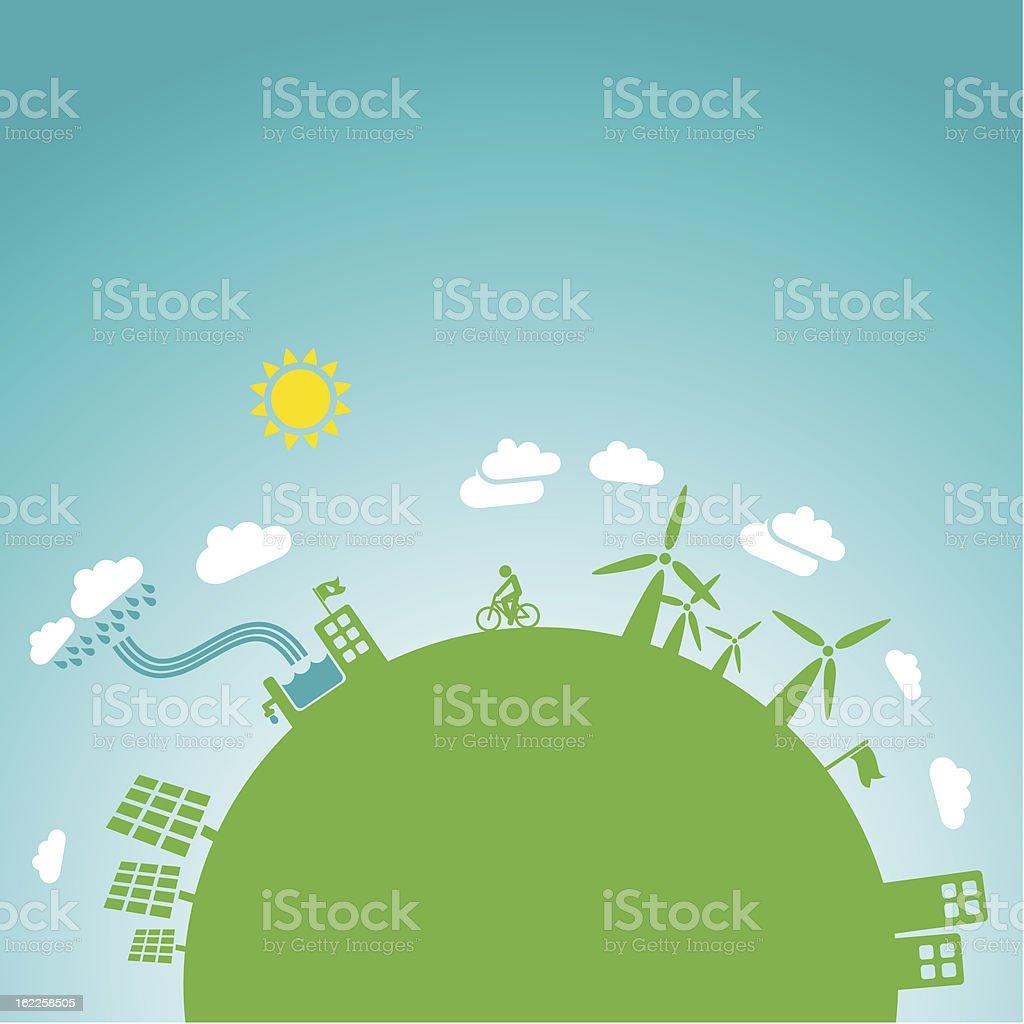 green earth, blue sky vector art illustration