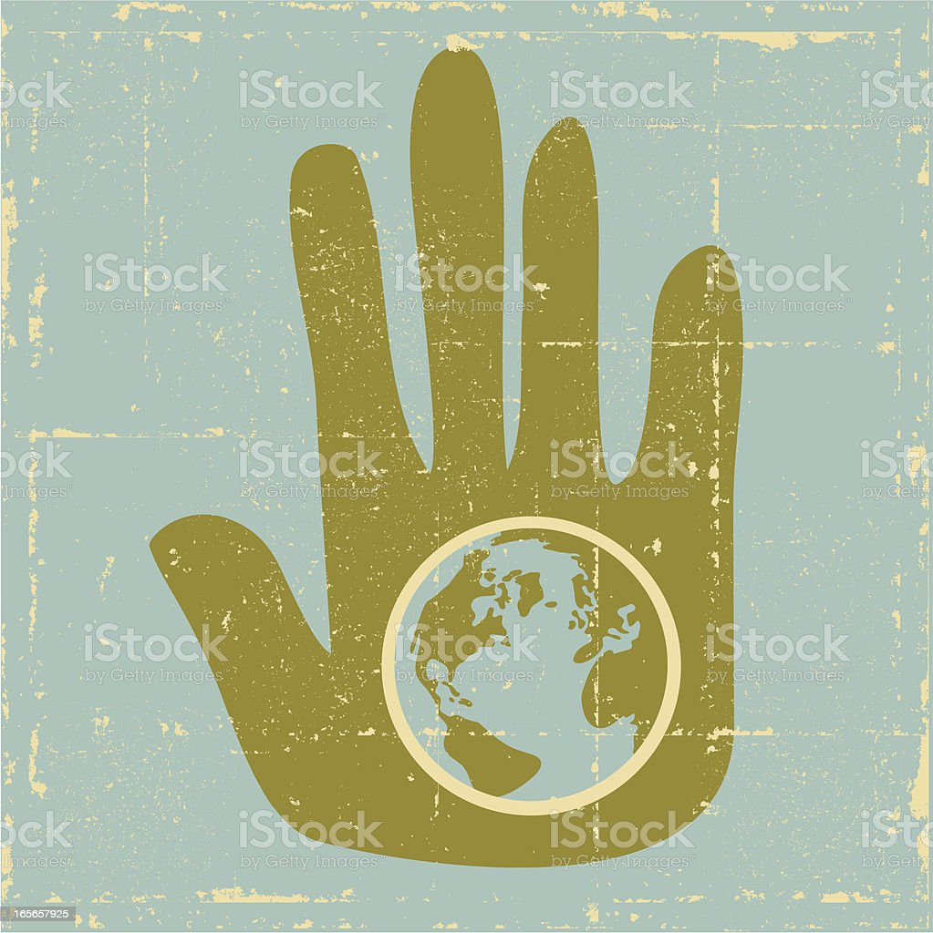 Green Earth Hand Grunge royalty-free stock vector art
