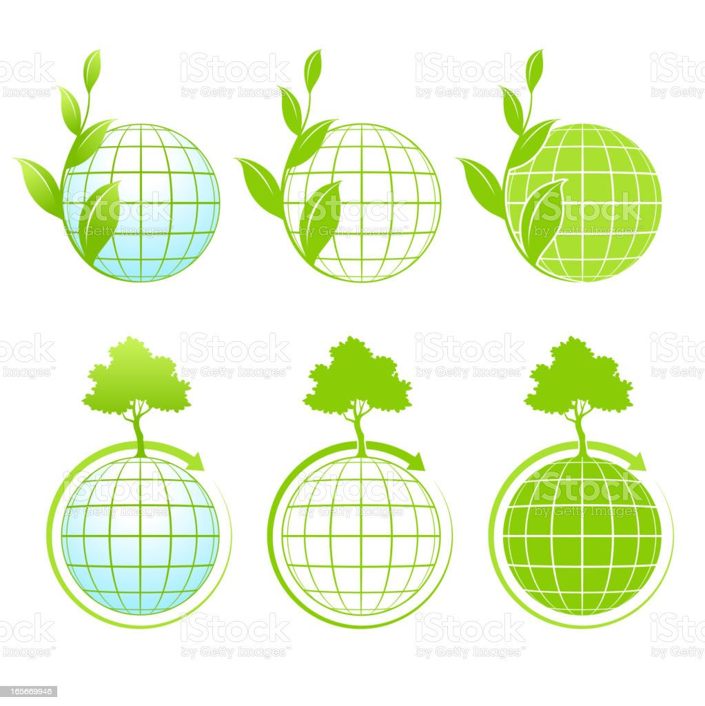 Green Earth Icons royalty-free stock vector art