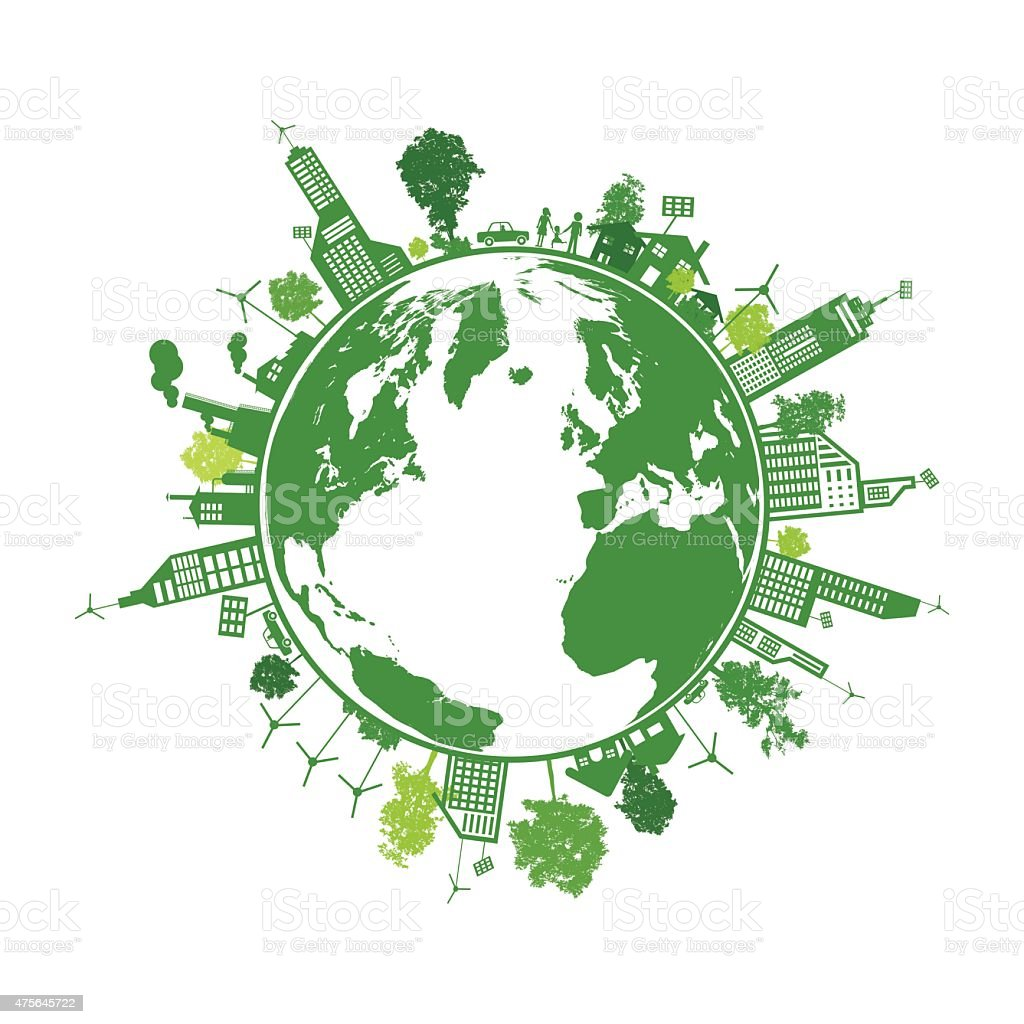 Green earth with city energy save concept vector art illustration