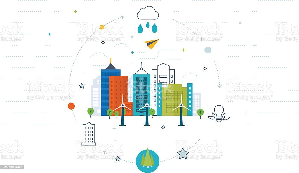 Green eco and eco-friendly city concept. vector art illustration