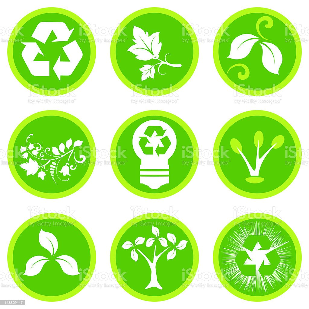 Green eco buttons royalty-free stock vector art