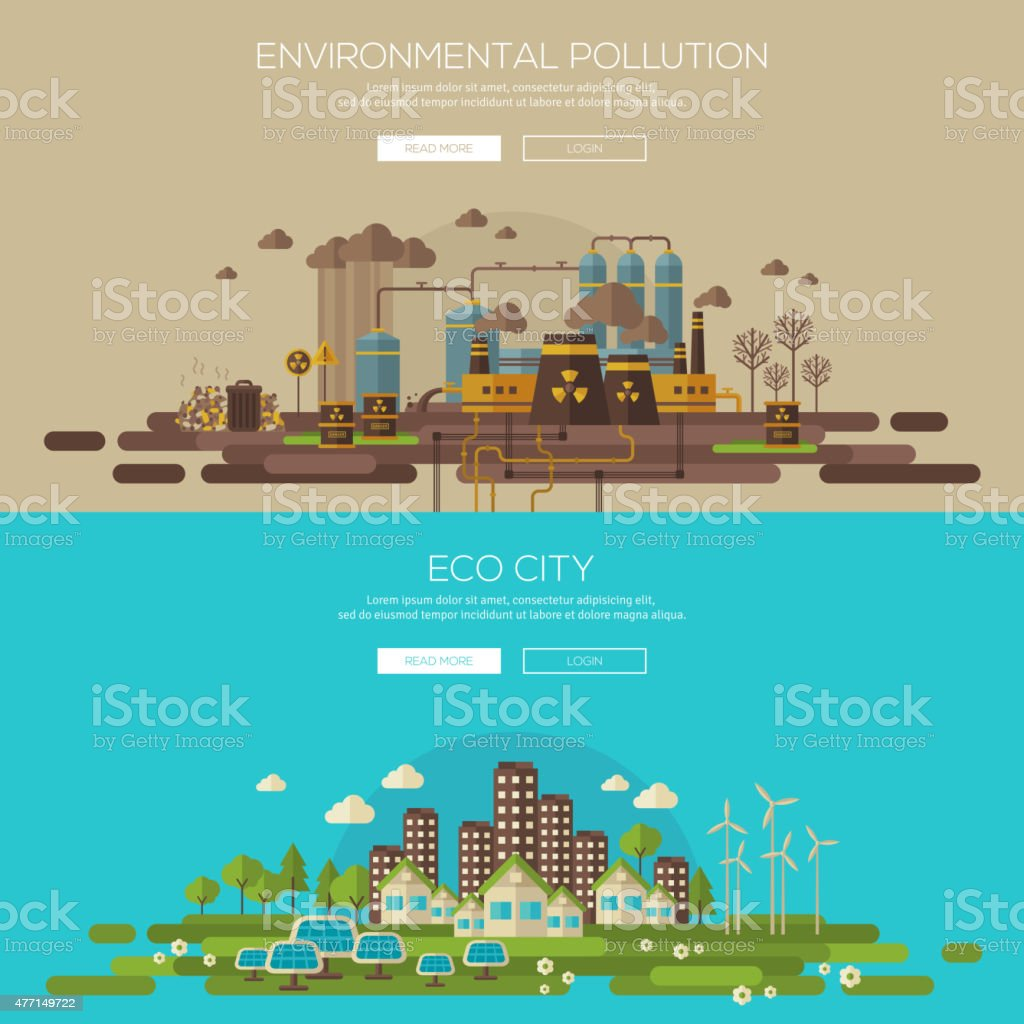 Green eco city and environmental pollution by factory vector art illustration