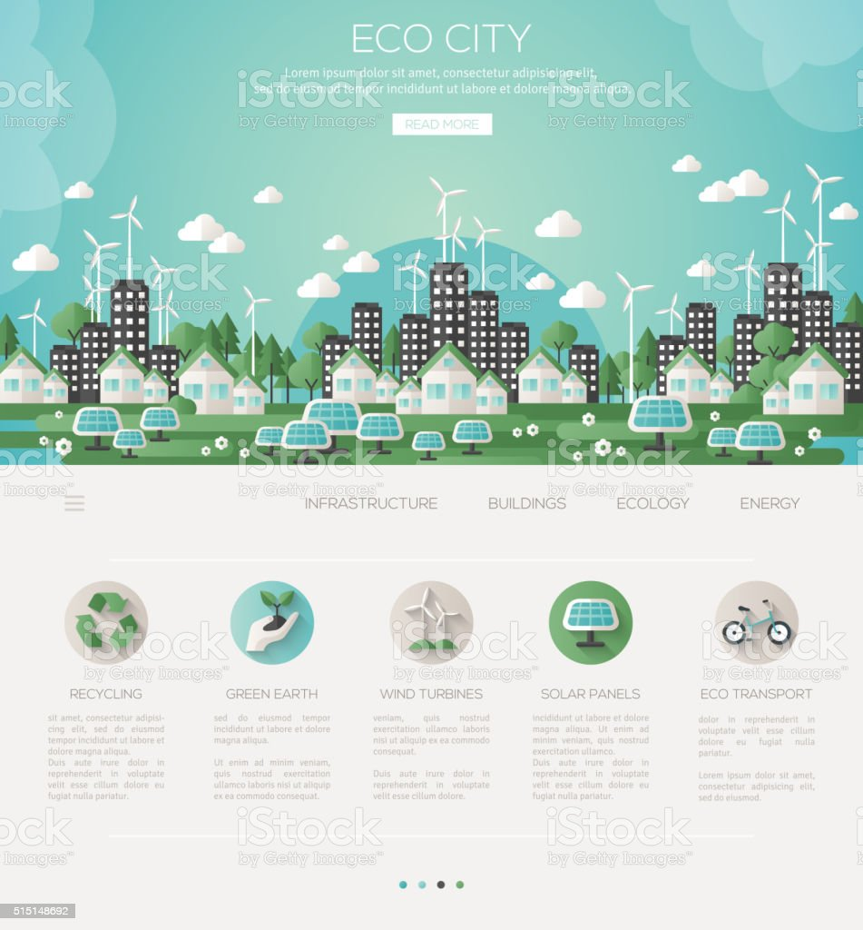 Green eco city and sustainable architecture vector art illustration