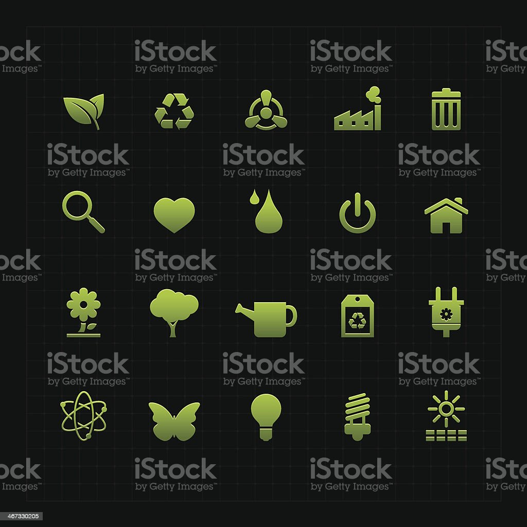 Green ECO icon set on dark background royalty-free stock vector art