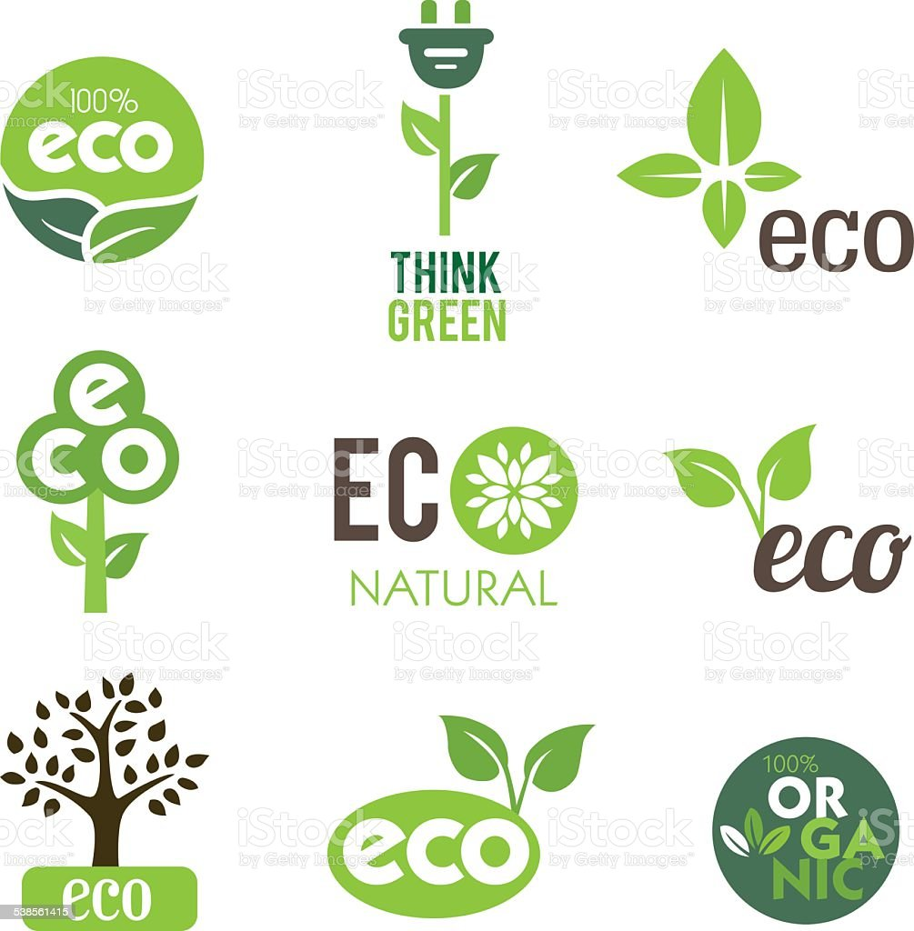 Green Eco Icons vector art illustration